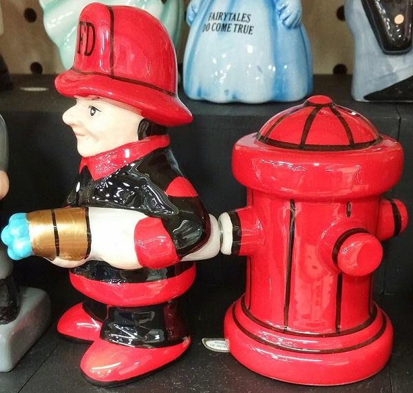 Salt and Pepper Shakers Fireman